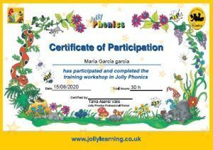 Jolly English Certificate of Participation E4F
